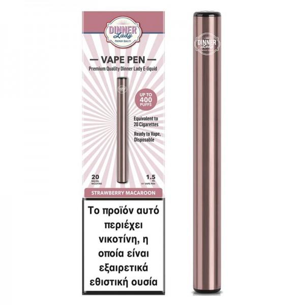 Dinner Lady Strawberry Macaroon Disposable Vape Pen 20mg 1.5ml