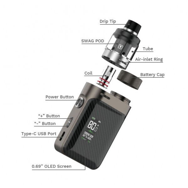 Pods Systems - Vaporesso SWAG PX80 Pod Kit 2ml