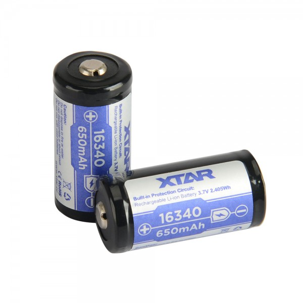 Batteries - XTAR 16340 650mAh (Protected) 1.2A