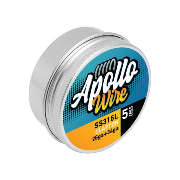 Wires & Cotton - Apollo SS 316L Clapton  26ga+34ga / 0.45ohm / 5 Coils