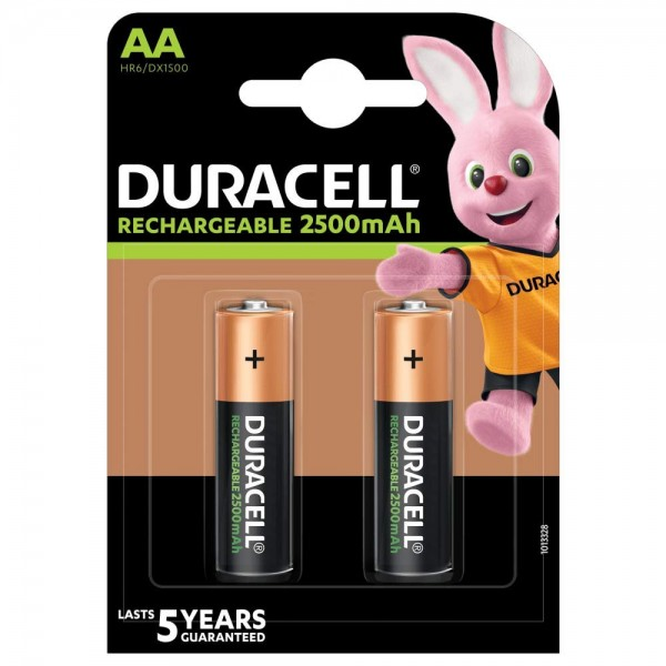 2x AA Duracell Rechargeable 2500mAh