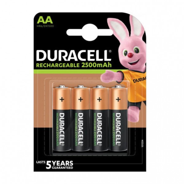 4x AA Duracell Rechargeable 2500mAh