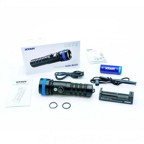 Xtar D26 1600 Diving Flashlight Full Set