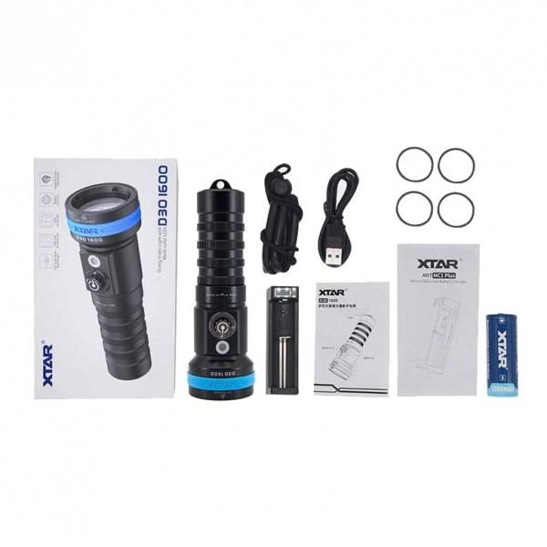 Xtar D30 1600 Flashlight Full Set